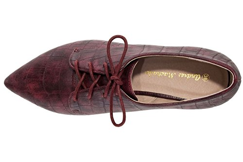 Andres Machado Damen Halbschuh Blücher Stil - Weinrot Schuhe in Übergrößen