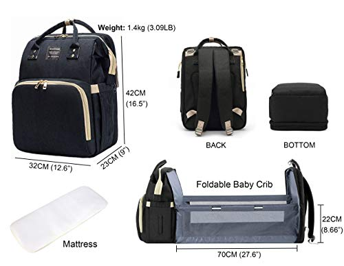 Diaper Bag Backpack With Foldabe Baby Crib Unisex Large Diaper Bags for Mom and Dad Multifunctional Travel Mommy Bag BackPack, Portable Baby Bed Baby Accessories Large Capacity, Waterproof Black
