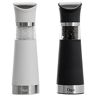 Gravity Pro BPA-Free Electric Salt and Pepper Grinder Set, White/Black