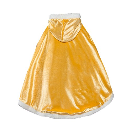 Labellevie Girl's Cape, Princess Style Long Cloak Winter Thicken Warm Cape Poncho Hoodie Gold Suitable For The height Of 120cm