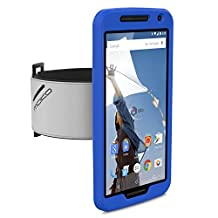 Nexus 6 Armband, MoKo Silicone Armband for Google Nexus 6 by Motorola 2014 release - Key Holder Slot, Lightweight, well-rounded protection, Perfect Earphone Connection while Workout Running, INDIGO
