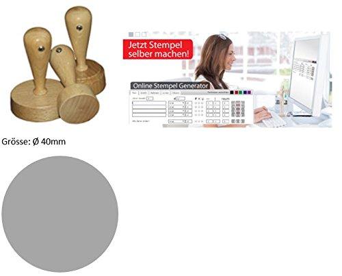 0,01€ - Ø 40mm - Individueller Rundholzstempel Probieraktion: Stempel selbst online gestalten - geosmile Marken Stempel (Textstempel / Logostempel / Motivstempel / Firmenstempel / Adressstempel) (Ø 40 mm)