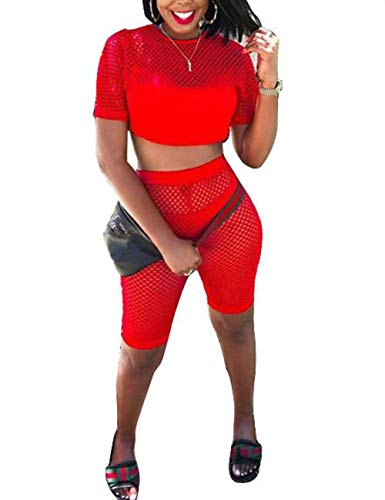 Women Hollow Long Sleeve Transparent Mesh Fishnet Crop Top Bodycon Shorts Set Bikini Cover Up Lingerie Set (Hole(Red), -