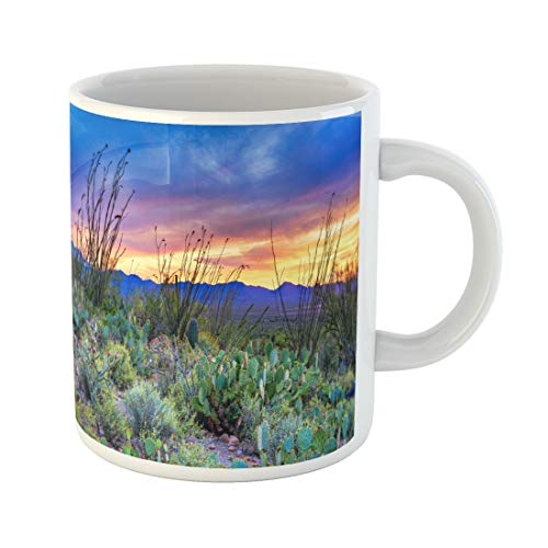 Semtomn Funny Coffee Mug Desert Sunset in Saguaro National Park Near Tucson Arizona 11 Oz Ceramic Coffee Mugs Tea Cup Best Gift Or Souvenir -