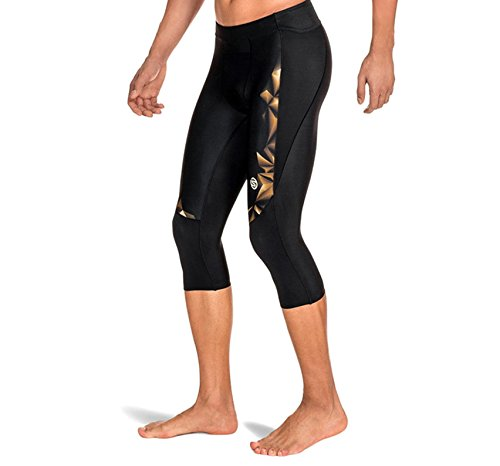 Skins Men's A400 Compression 3/4 Tights, Black/Gold, Small by Skins (Image #4)