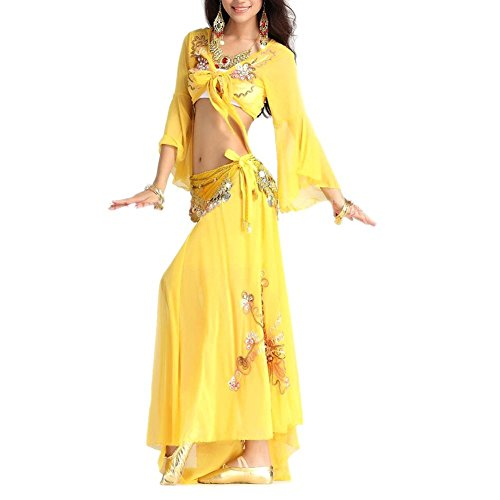 BellyLady Professional Belly Dance Costume, Tribal Wrap Top And Skirt Set YELLOW