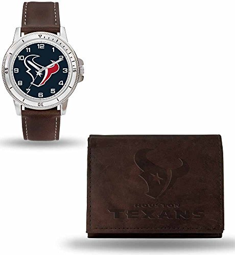 NFL Houston Texans Men-s Watch and Wallet Set, Brown, 7.5 x 4.25 x 2.75-Inch by Rico