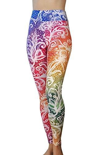 Comfy Yoga Pants - Workout Capris - High Waisted Workout Leggings for Women - Lightweight Printed Yoga Leggings (Yoga Waist/Rainbow Lace)
