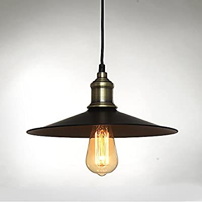 SPARKSOR Industrial Factory Pendant Lamp - Antique Brass One-Light Fixture with Metal Shade Exposed Hardware Fabric Wrapped Cord - 11.8-Inch Canopy - Downlight Modern Vintage,Adjustable Hanging Height