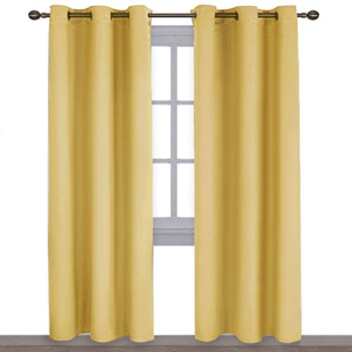 NICETOWN Energy Smart Thermal Insulated Solid Ring Top Blackout Curtains/Drapes for Bedroom (Yellow, 2 Pieces, 42 x 84 Inch) from NICETOWN