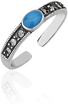 925 Sterling Silver Marcasite & Black Resin or Reconstructed Green, Blue Turquoise Gemstone Toe Ring