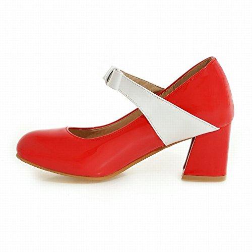 Mee Shoes Women's Sweet Mid Heel Bow Upper Block Heel Court Shoes Red P1sr3KwQw