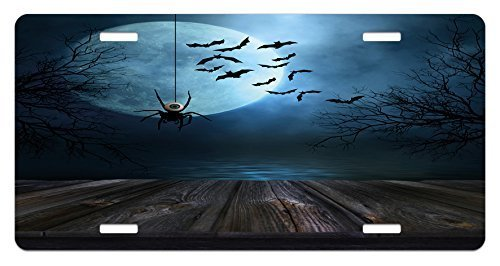 zaeshe3536658 Halloween License Plate, Misty Lake Scene Rusty Wooden Deck Spider Eyebaland Bats with Ominous Skyline, High Gloss Aluminum Novelty Plate, 6 X 12 Inches, Blue Brown by zaeshe3536658