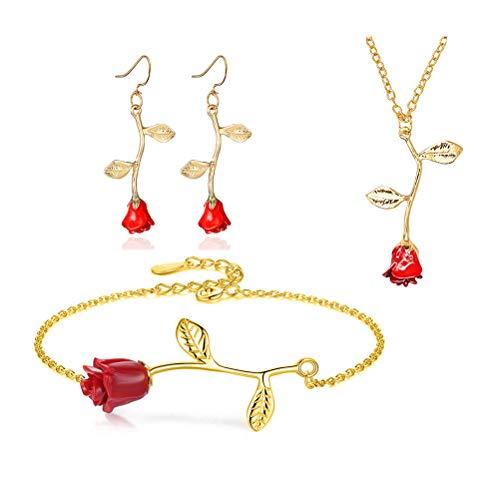 - MUZHE Charm 3D Red Rose Flower Pendant Necklace, Romantic Rose Flower Necklace for Women, Personalized Red Rose Statement Necklace for Girls, Gardeners Necklace (K:Gold Set)