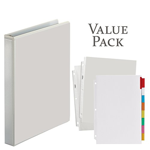3-Ring Binder, 1 Inch With 20 Top-Loading Poly Clear Sheet Protectors and Big Tab Insertable Extra Wide Dividers, 8 Multi-color Tabs - VALUE PACK (White Ring Binder) (20 Clear Tabs)