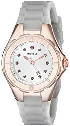 MICHELE Women's MWW12P000010 Jellybean Topaz-Accented Rose Gold-Tone Stainless Steel Watch