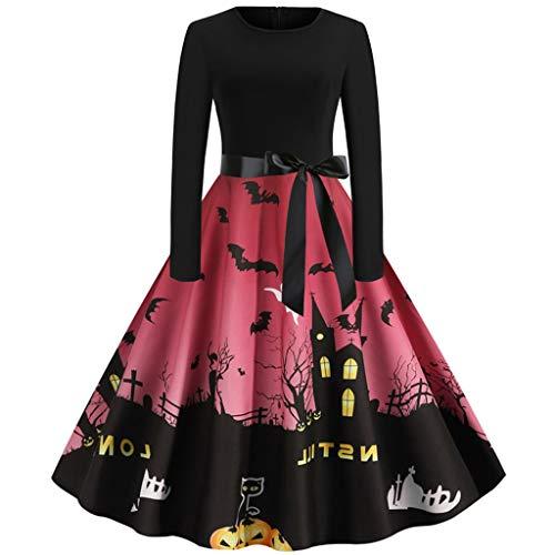 Xinantime Womens Halloween Dress Castle Print Dress Long Sleeve O Neck Evening Printing Party Prom Swing Dress Wine (Eden Bridals Flower Girl Dresses)