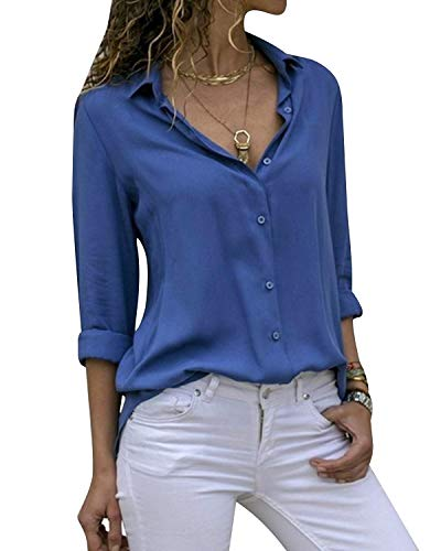 Yidarton Women's Long Sleeve V Neck Chiffon Blouses Tops Button Down Business Shirts(Blue,XXL)