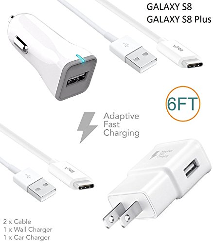 Samsung Galaxy S8 / S8 Edge Charger! Adaptive Fast Charger Type-C Cable {Wall Charger + Car Charger + 2 Cables} True Digital Adaptive Fast Charging uses Dual voltages for up to 50% Faster Charging!
