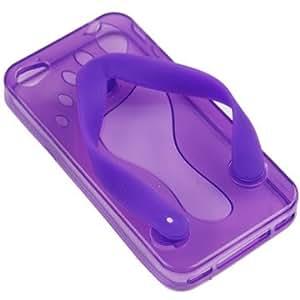 Carcasa de TPU con simpática forma de chancleta para Iphone 4/4S. Purpura.