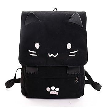 Espeedy Bolsa de las mujeres gato encantador del mochila de la lona de las muchachas estudiantes de la escuela de dibujos animados Bolsa de hombro: ...