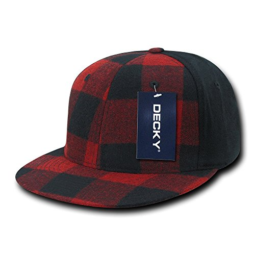 DECKY Flat Bill Flex Cap, Red Plaid