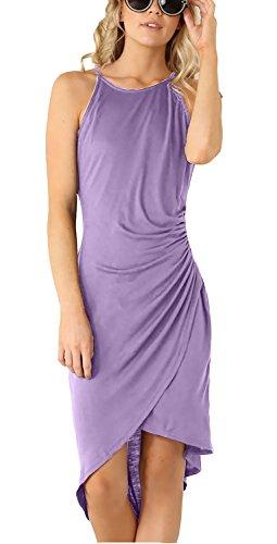 Eliacher Women's Spaghetti Strap Sleeveless Casual Bodycon Midi Dress (S, Lilac)