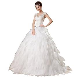 Dearta Women's A-Line/Princess V-Neck Floor-Length Wedding Dress UK 14 White