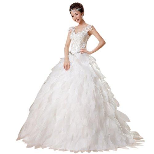 Kristall A Linie Applikation Brautkleider Weiß Kleidungen Tuell Ausschnitt Bodenlang Damen Prinzessin Mit Dearta V 4wTqa7S