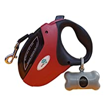 Retractable Dog Leash by DuraPaw™ - 5 Meters Tangle Free Lead - Reliable Brake and Lock Button for Dogs up to 110 lbs + Bonus Poop Bag Holder (large, red)