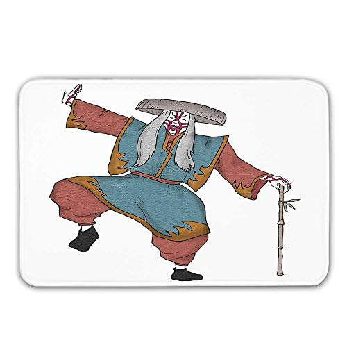 Kabuki Mask Decoration Rubber Backing Non Slip Door Mats,Cultural Asian Character Posing Traditional Hat Makeup and Costume Decorative Doormat Floor Mats Rugs,23.6