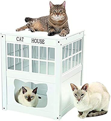 Amazon.com: Air Flow Casa de madera blanca para gatos al ...