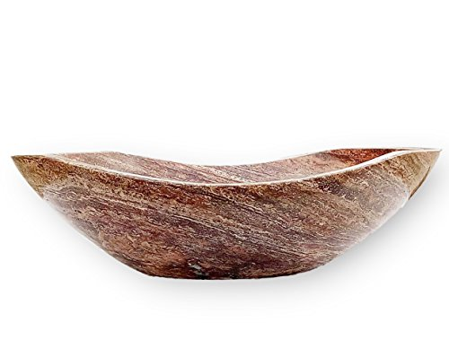 Red Travertine Polished Stone Bathroom Vessel Sink - Oval Canoe Shape - 100% Natural Marble, Hand Carved - Free Matching Soap Tray ()