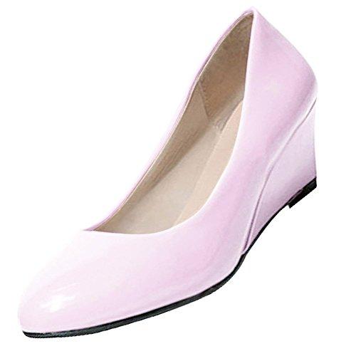 SODIAL(R) Neue Frauen Wedges Schuhe Spitzzehe Lackleder Nackt Arbeitsschuhe Laessig Frauen Pumps Cremefarben US5.5 = EUR36 = Laenge 23CM Rosa