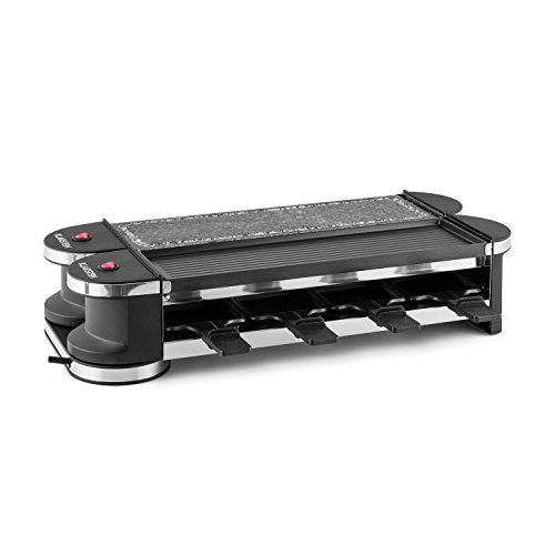 KLARSTEIN Tenderloin Metal and Stone Raclette Grill • For 8 Persons • 1200 Watts • Innovative 360° Base Station • Free Positioning of the Two Grill Halves • One Metal Grill and One Natural Stone Plate -