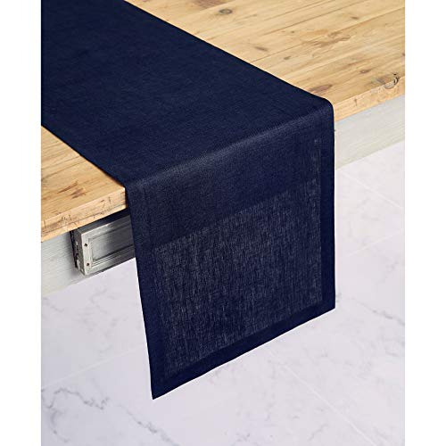 Solino Home 100% Pure Linen Table Runner - 14 x 36 Inch Athena, Handcrafted from European Flax, Natural Fabric Runner - Navy ()