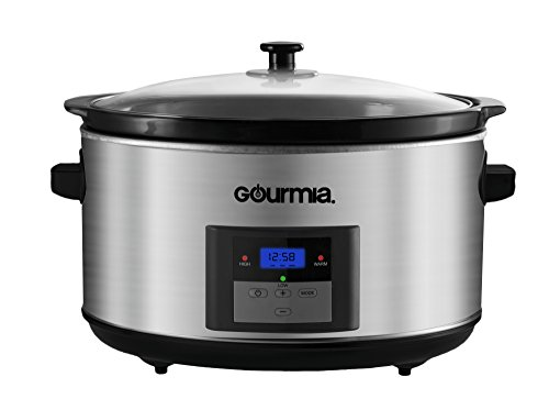 Gourmia DCP860 Programmable Slow Cooker, Digital Timer, Stainless Steel, 8.5 quart