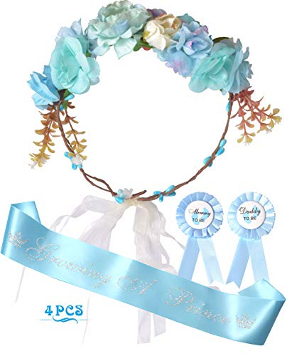 Mother to Be Flower Crown Blue | Mommy to be Sash and Pin | Dad to Be Pin | Blue Baby Shower Party Favors Decorations Gift for Boy