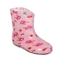 Rabbit Jelly Flat Pull On Rain Boot (Toddler/Little Girl) CE86 - Pink