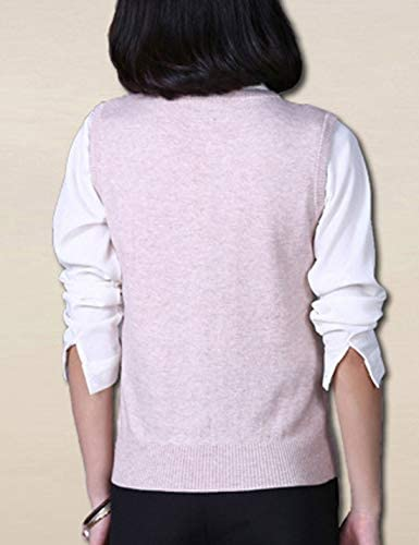 HUPOO Womens Casual V Neck Sleeveless Pullover Knitted Sweater Vests