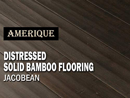 AMERIQUE Horizontal Carbonized (Dark Jacobean Color) Distressed Solid Bamboo Flooring (One Carton), 25.80 sq. ft.