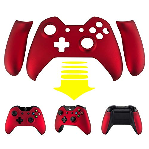 eXtremeRate Red Soft Touch Grip Front Housing Shell Faceplate Side Rails Panel Replacement Parts for Microsoft Xbox One Standard Controller W/3.5 mm