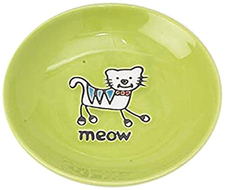 Pet Rageous Silly Kitty Saucer, 2.5-Ounce, Lime Green