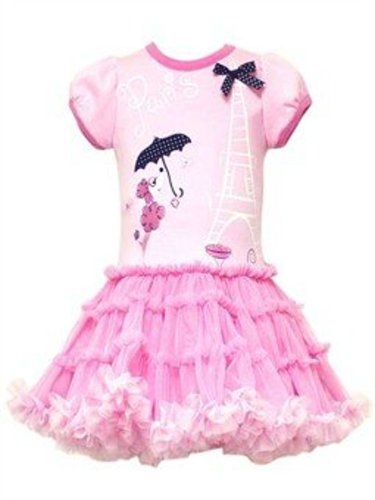Pink Paris Knit Mesh Ruffle Tier Dress Size 3 Month - F748491