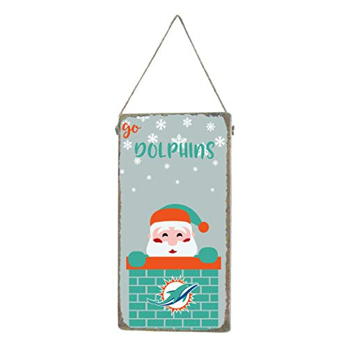 - Rustic Marlin Designs NFL Miami Dolphins Vertical Mini Plank Sign with Santa and Team Logo, Team Color, 6