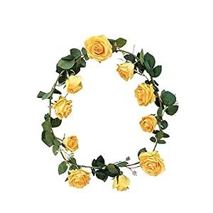 "DALAMODA 10 Heads Rose Vine 72"" Length Artificial Fake Silk Flowers Rose Garland Plant Vine Home Garden Wall Wedding Decor Pack of 2 (Yellow) 44"