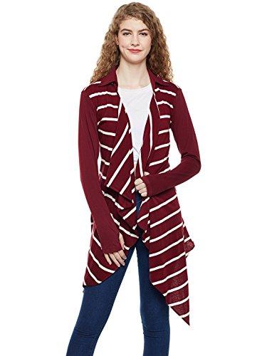 HYPERNATION Maroon and White Stripe Cotton Waterfall Shrug for Women