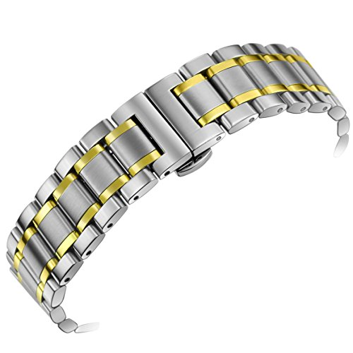 Solid Tone Watch Wrist Two (24mm Men's Deluxe Wide Solid Two Tone Silver and Gold Stainless Steel Watch Bracelets Wristbands with Both Curved and Straight Ends)