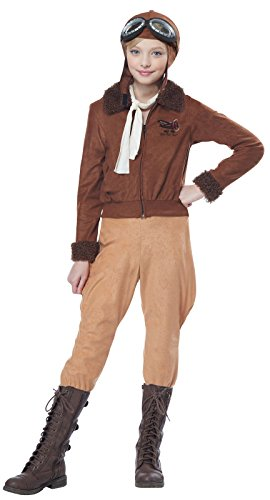 California Costumes Amelia Earhart/Aviator Costume, Medium, Brown - The Aviator Costumes