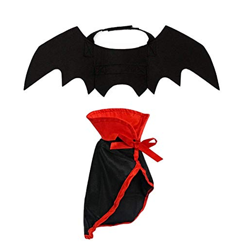 LAWOHO Halloween Pet Costume - Pet Bat Wings & Cloak 2 PCS Witch Vampire Cosplay Combination Small Cats & Dogs Funny Holiday Decorations Clothing Black Halloween Bloody Zombie Party ()